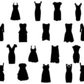 Set of dresses silhouette iseamless pattern. vector illustration — Stock Vector