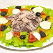 图库照片: Delicious salad with tuna, tomatoes, eggs, olives and peppers.