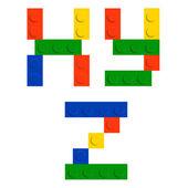 Алфавит набор из игрушка Строительство кирпичных блоков изолированы iso — Cтоковый вектор