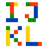 Alphabet set made of toy construction brick blocks isolated iso — Vetor de Stock
