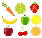 Ilustración de vector de frutas frescas — Vector de stock