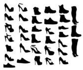 靴シルエット ベクトル イラスト eps10 — ストックベクタ