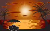 Palm in the sunset. Vector illustration. EPS 10 — Vector de stock