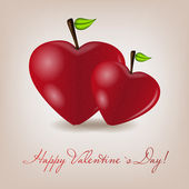 Happy Valentines Day card with apple heart. Vector illustration — 图库矢量图片