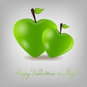 Happy Valentines Day card with apple heart. Vector illustration — Stok Vektör