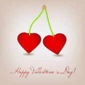 Happy Valentines Day card with cherry heart. Vector illustration — Vettoriale Stock