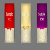 Set of three banners with ribbons. vector illustration — Stock Vector
