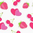 Stockvector : Seamless pattern with heart, cherry, strawberry. Vector illustra