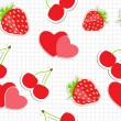 Royalty-Free Stock Vector Image: Seamless pattern with heart, cherry, strawberry. Vector illustra