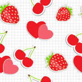 Seamless pattern with heart, cherry, strawberry. Vector illustra — Stock Vector