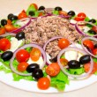 Delicious salad with tuna, tomatoes, eggs, olives and peppers. — Zdjęcie stockowe #17611673