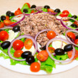 Stock fotografie: Delicious salad with tuna, tomatoes, eggs, olives and peppers.