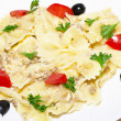 Pasta ribbons, cherry tomatoes and olives - Foto de Stock