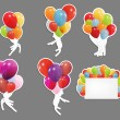 Set of labels with colored ballons, vector illustration — Stock Vector