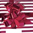 Present with Ribbon and tag. Isolated on white background - Stock Photo