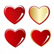 Set of red and gold heart vector illustration — Stock Vector