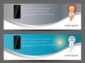 Plantilla para inteligente banner vector illustra teléfono y teléfono móvil — Vector de stock