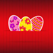 Paper card with easter eggs vector illustration — Stock Vector