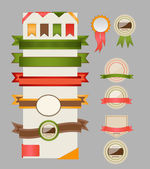 Retro ribbons and labels. Vector illustration. — Stock Vector