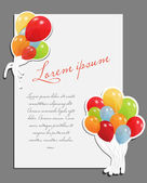 Celebrating blank page with balloons vector illustration — Stock Vector