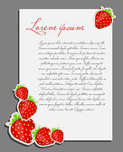 Strawberry background blank page vector illustration — Stock Vector