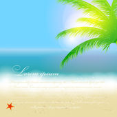Beautiful summer background with beach, sea, sun and palm tree V — Stock Vector
