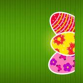 Paskalya yumurtaları ile vektör kağıt kartı — Stok Vektör