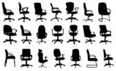 Office chairs silhouettes vector illustration — Stock Vector