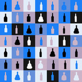 Vector illustrationseamless pattern silhouette alcohol bottle — Stock Vector