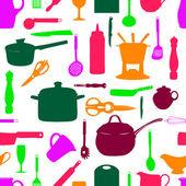 Kitchen tools seamless pattern Silhouette Vector illustration — Stock Vector