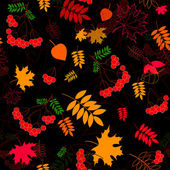 A seamless leaf and rowanberrys pattern vector background. — Stock Vector