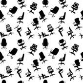 Modèle sans couture de silhouettes de chaises de bureau vector illustratio — Vecteur