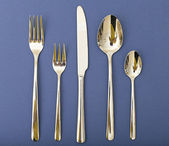 Silverware Set with Fork, Knife, and Spoon — Stock Photo