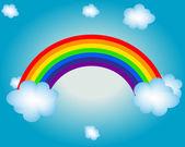 Cloud, sun, rainbow vector illustration background — Stock Vector