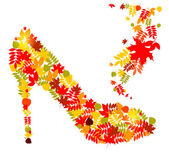 Vector illustration of shoes from autumn leaves — 图库矢量图片