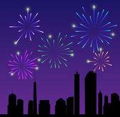 Fireworks city vector illustration — Stock Vector