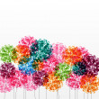 Abstract colorful background with flowers. Raster illustration - Stock Photo