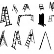 Set of ladder silhouette. vector illustration. — Stock Vector