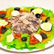 Stock Photo: Delicious salad with tuna, tomatoes, eggs, olives and peppers