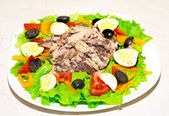Delicious salad with tuna, tomatoes, eggs, olives and peppers — Stock Photo