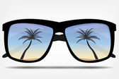 Sunglasses with a palm tree vector illustration — Stock Vector