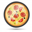 Pizza watch concept vector illustration — Stock Vector