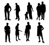 Silhouettes of vector illustration — Stock Vector