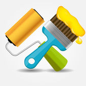 Paint roll and brush icon vector illustration — Stock Vector