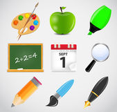 Different school icon vector illustration set1 — ストックベクタ