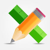 Pencil and ruler icon vector illustration — Stock Vector