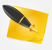 Yellow paper with ink pen icon vector illustration — Stockvektor