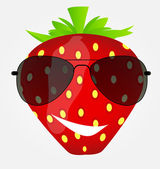 Funnt sweet tasty strawberry in sunglasses vector illustration — Stock Vector