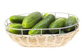 Fresh green cucumber in a wicker plate, isolated on white backgr — Stock Photo