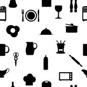 Kitchen tools icons Silhouette seamless pattern Vector illustrat — Stock Vector